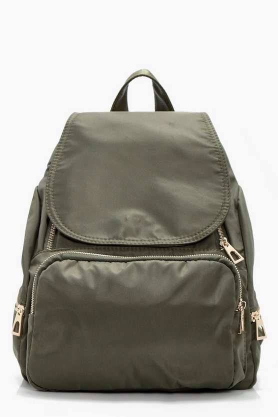 Nylon Zips And Flap Rucksack