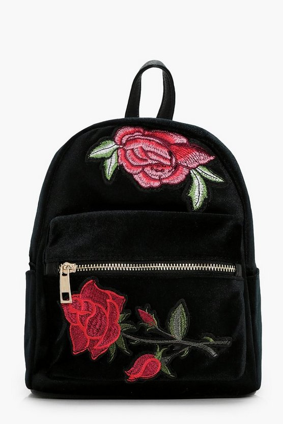 Womens Black Natalie Embroidered Mini Rucksack
