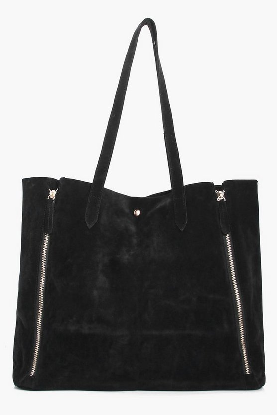 Mock Zip Suedette Shopper Bag