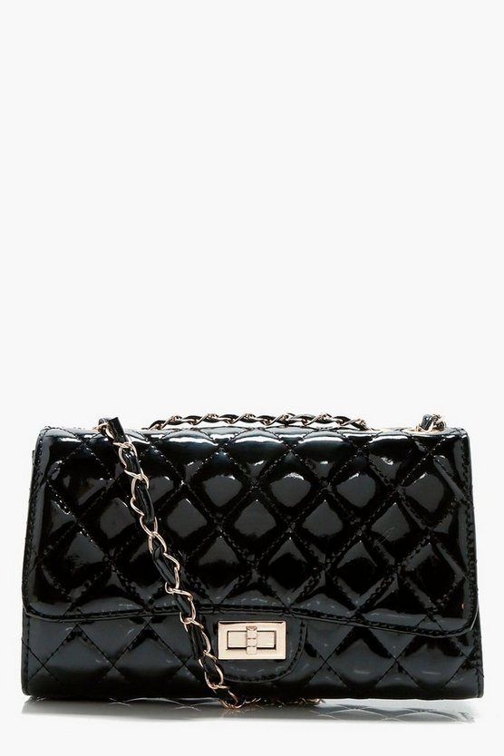 Womens Black Patent Quilted Cross Body Bag