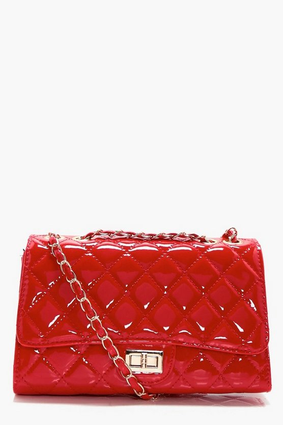Patent Quilted Cross Body Bag