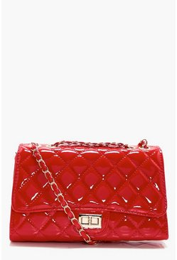 Womens Red Patent Quilted Cross Body Bag