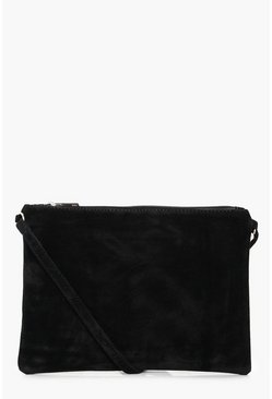 Womens Black Suedette Cross Body Bag