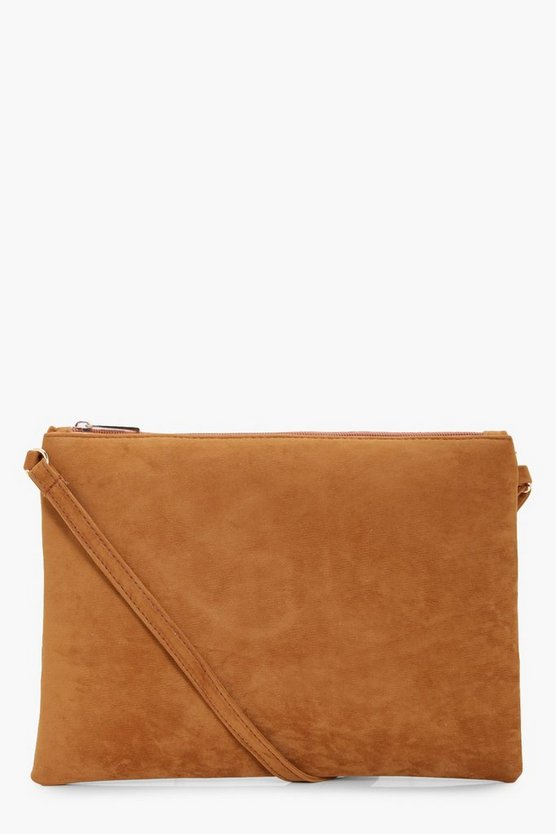 Suedette Cross Body Bag, Tan, MUJER