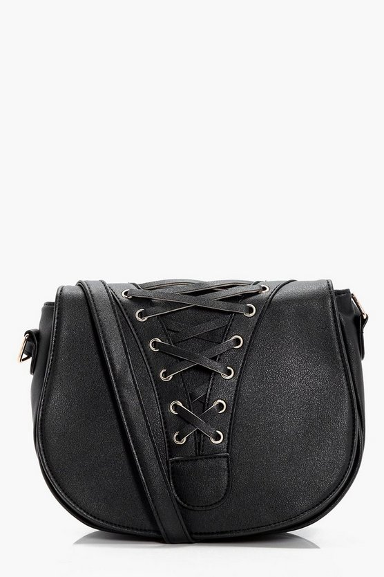 Heather Lace Up Corset Saddle Bag