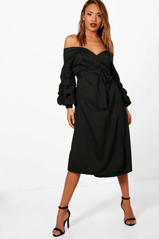Ruched Sleeve Midi Wrap Dress