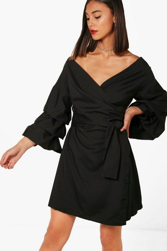 Ruched Sleeve Wrap Dress