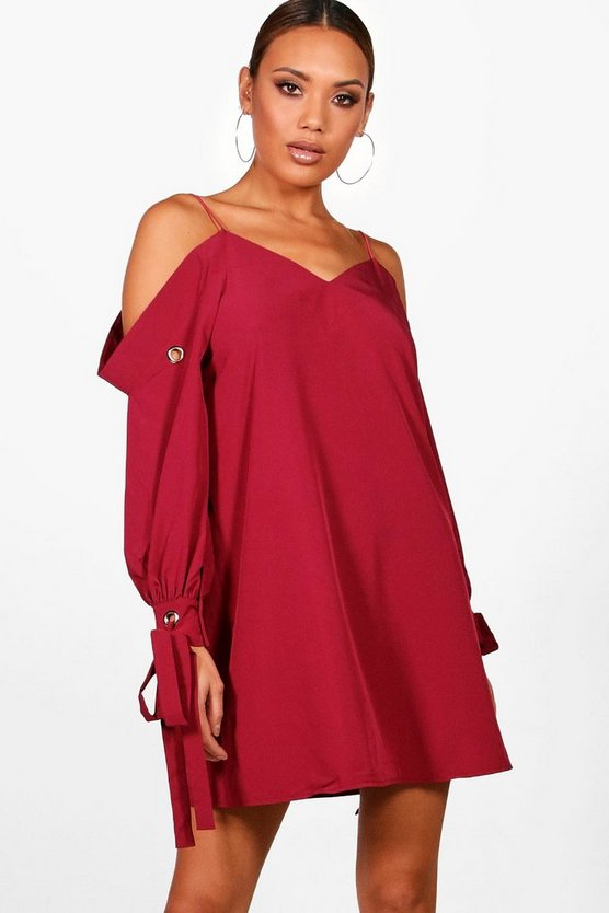 Cold Shoulder Eyelet Sleeve Shirt Dress