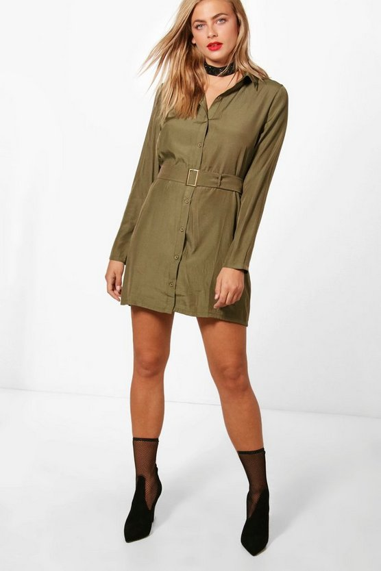Utility Belted Shirt Dress