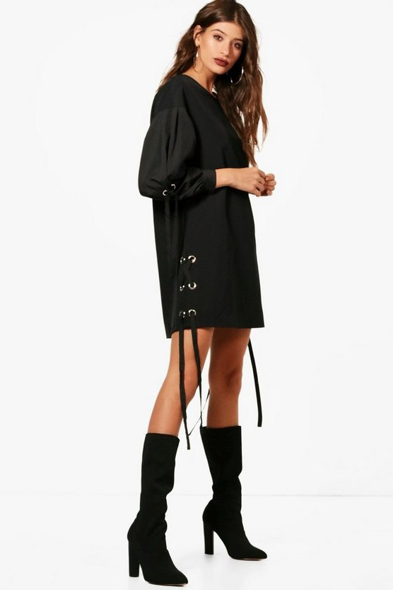 Eyelet Mixed Fabric Shift Dress