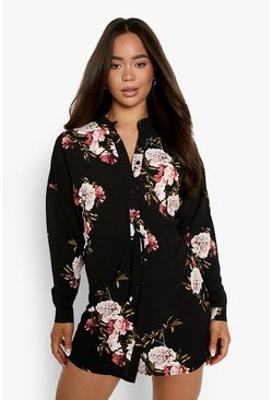 Floral Shirt Dress, Black, Donna