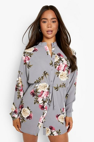 Womens Silver Floral Shirt Dress