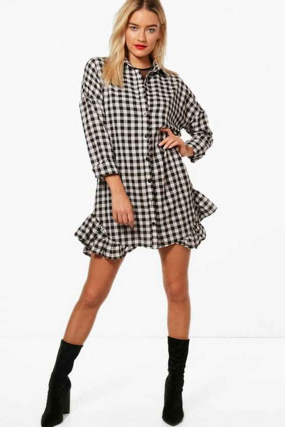 Gingham Ruffle Hem Shirt Dress