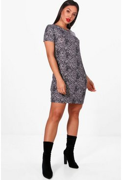 Womens Grey Paisley Print Brushed Kit Shift Dress