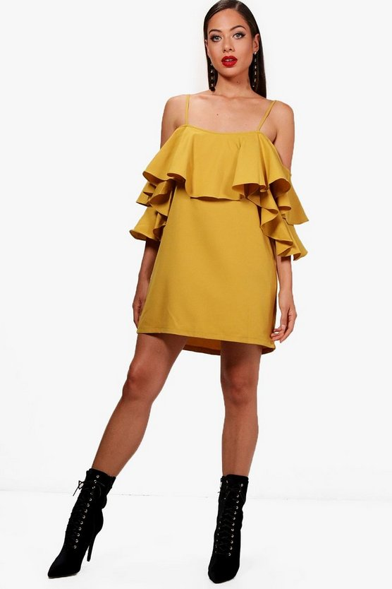 Cold Shoulder Ruffle Shift Dress