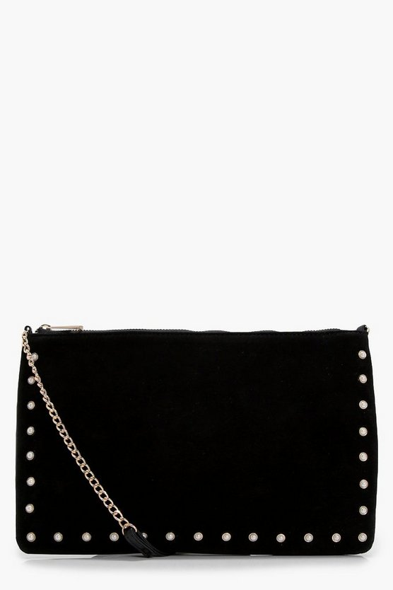 Kerry Velvet & Pearl Cross Body Bag