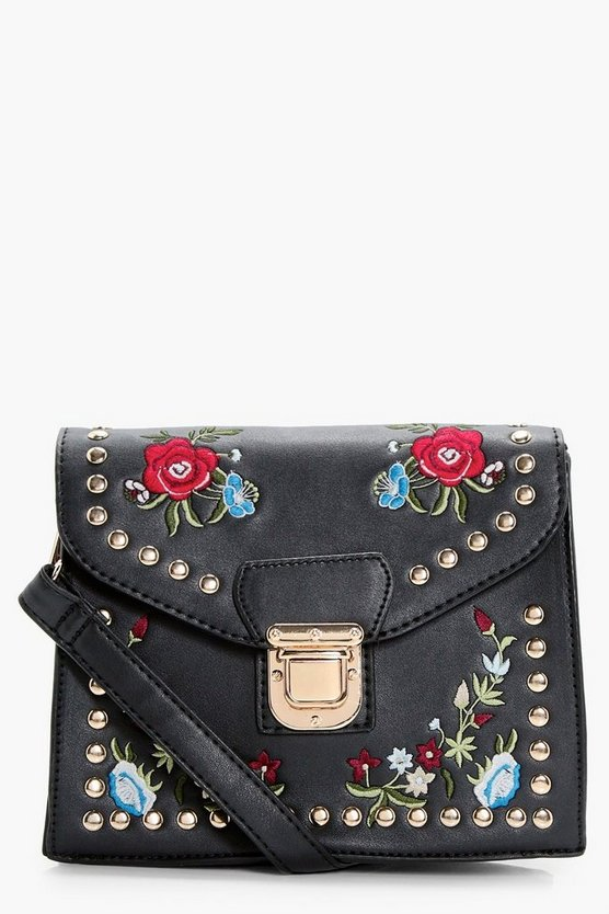 Embroidery & Stud Cross Body Bag