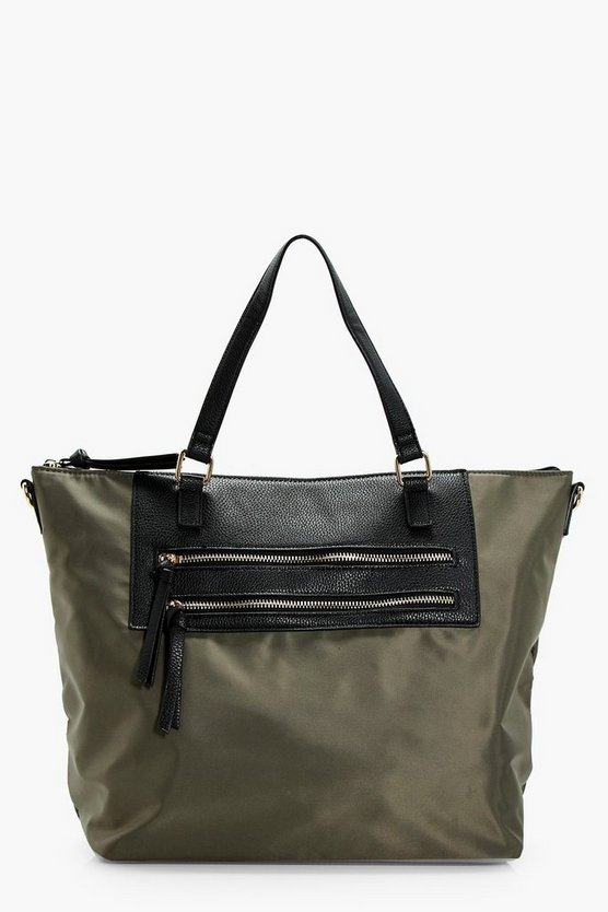 Double Zip Nylon Shopper