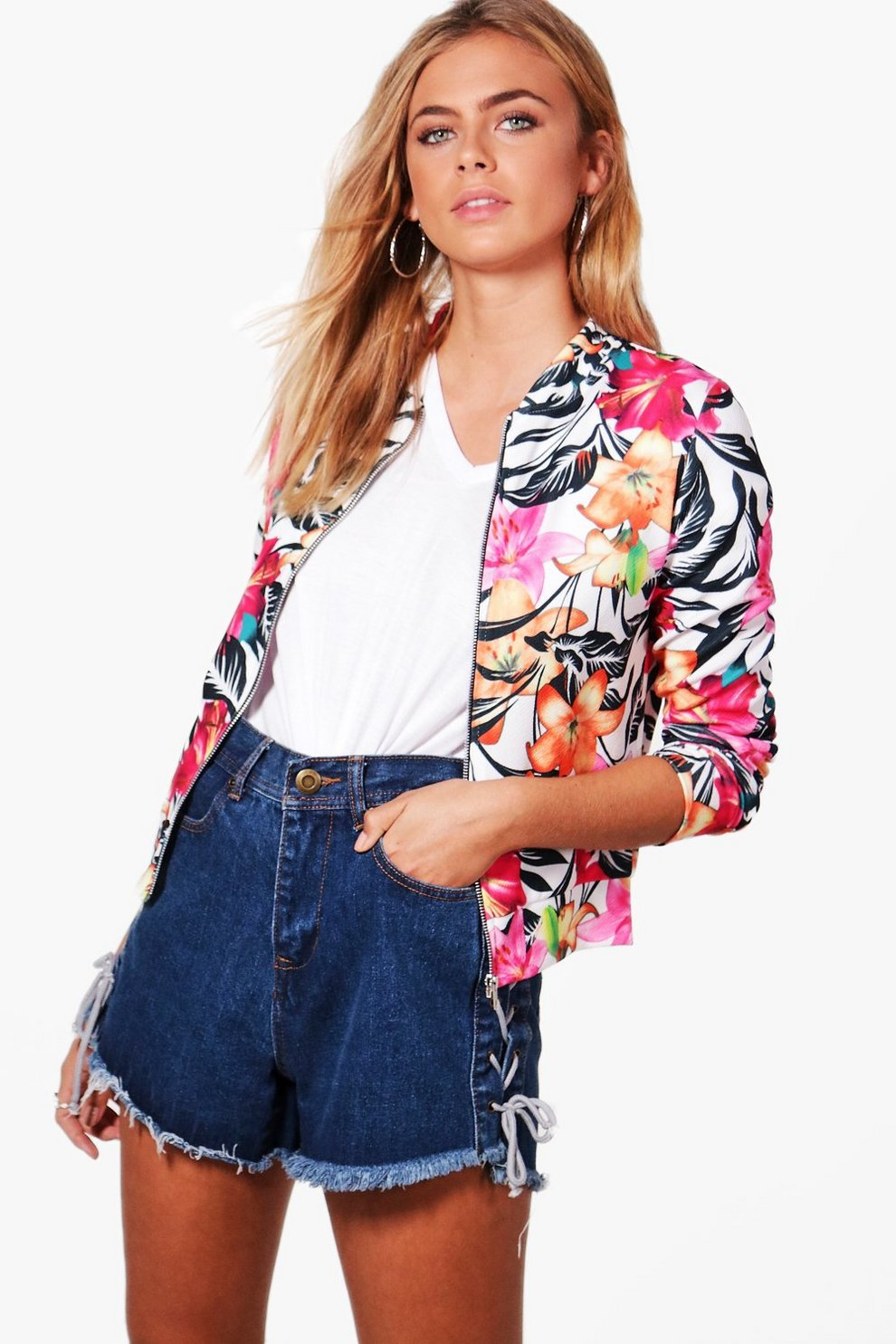 997e9c61f Katie Floral Printed Bomber   Boohoo
