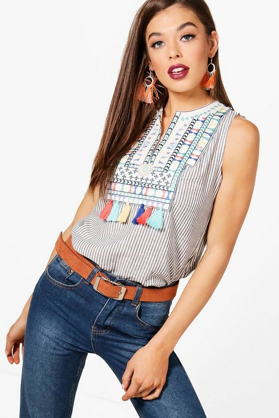 Stripe Embroidered Tassle Top