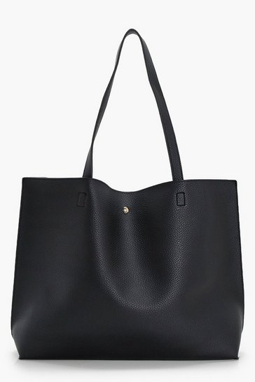 Black Large Popper Tote Shopper Bag