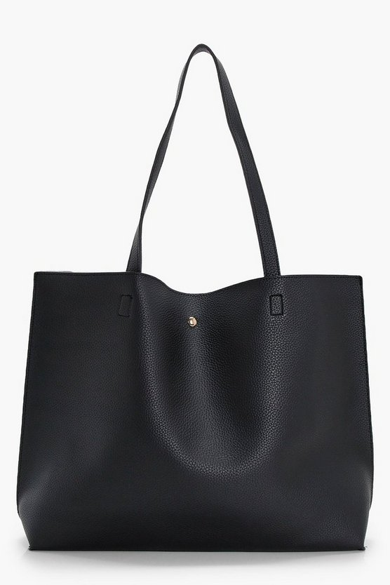Womens Black Large Popper Tote Shopper Bag