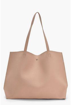 Natural Large Popper Tote Shopper Bag