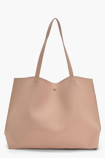 Womens Natural Large Popper Tote Shopper Bag