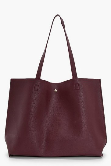 Womens Wine Large Popper Tote Shopper Bag