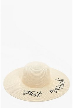Chapeau en paille just married, Naturel
