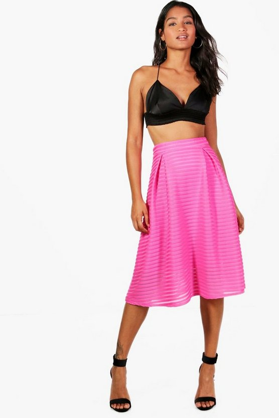 Holly Bright Mesh Stripe Full Skater Skirt