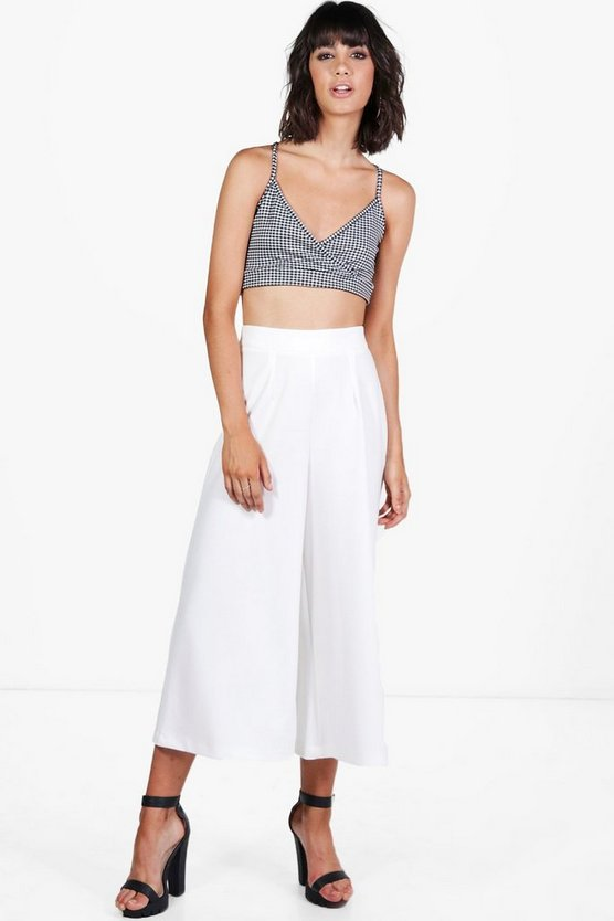 Samira Pleat Front Wide Leg Crepe Culottes