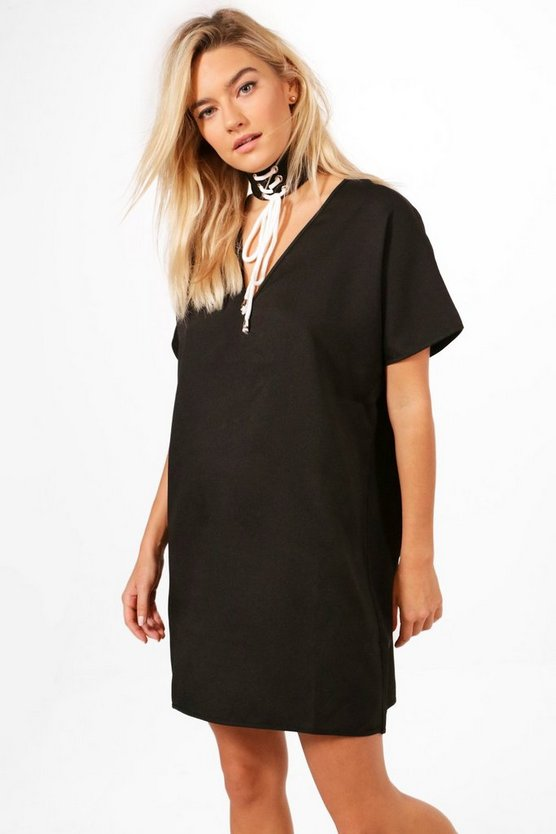 Mona V Neck Choker Shift Dress