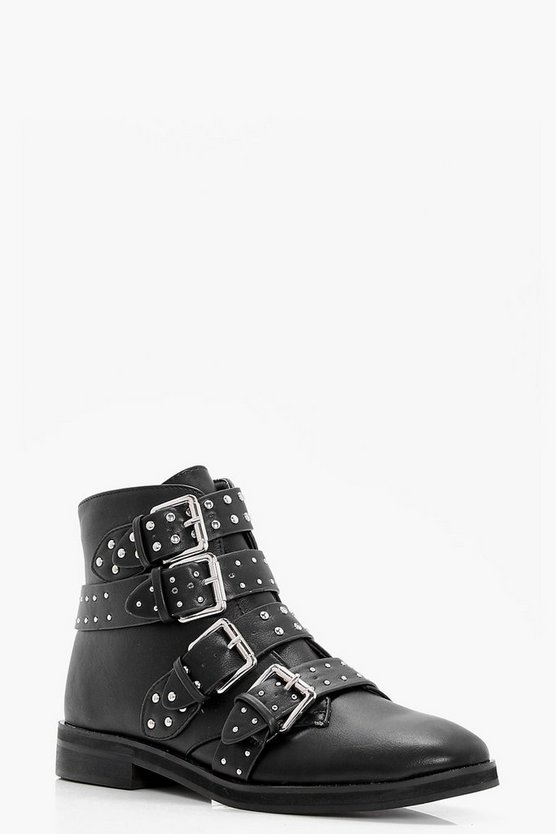 Womens Black Studded Strap Ankle Boots