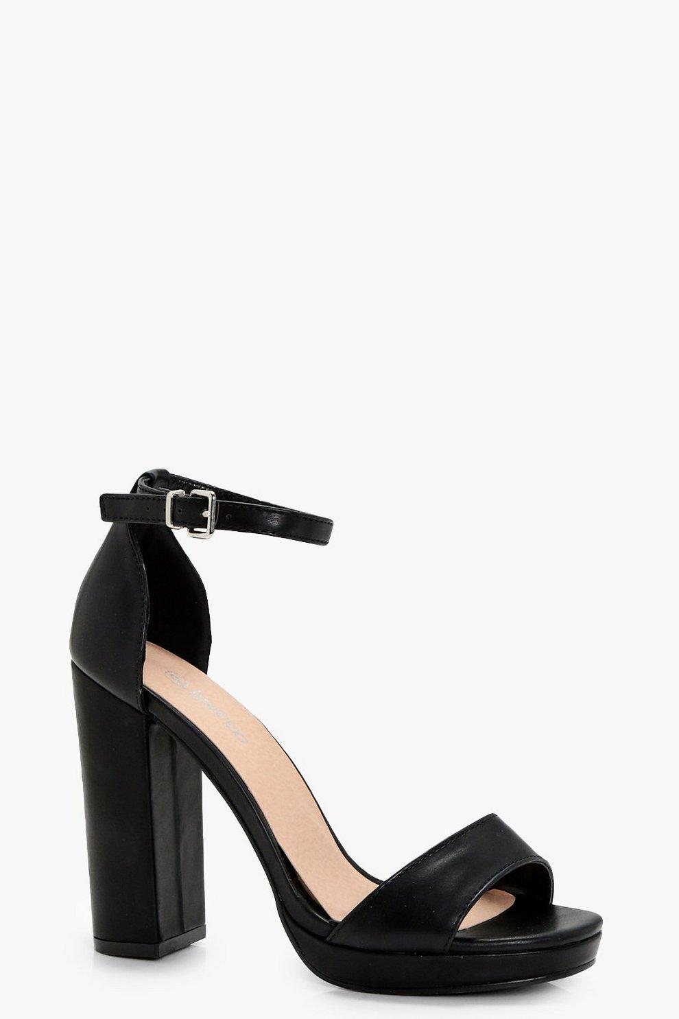 3cbd915d49ba Womens Black Wide Fit Platform Block Heels. Hover to zoom