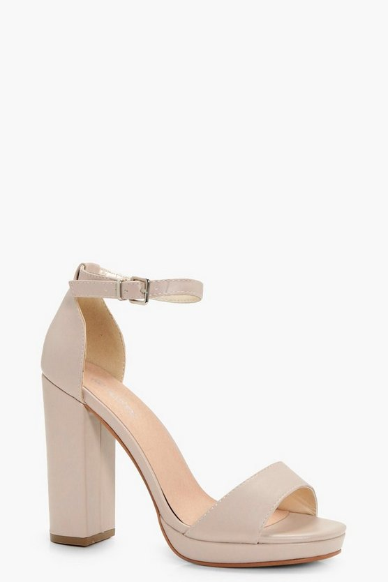 Womens Nude Wide Fit Platform Block Heels