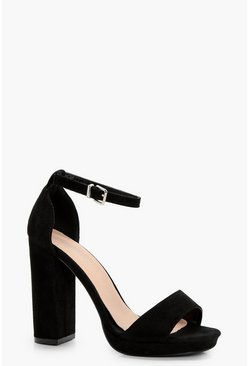 Womens Black Wide Fit Platform Block Heels