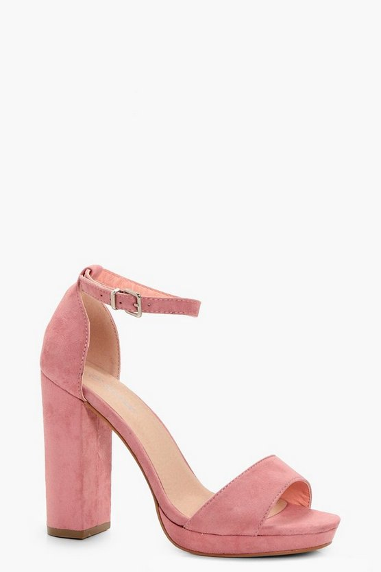 Womens Blush Wide Fit Platform Block Heels
