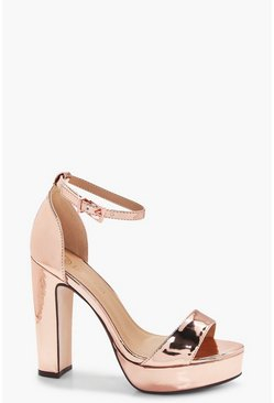 Womens Rose gold Wide Fit Platform 2 Part Heels