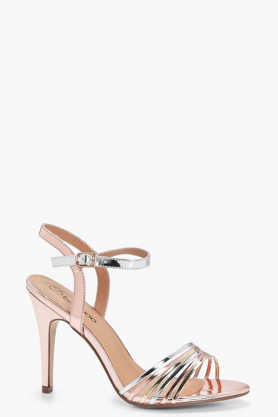 Womens Rose gold Wide Fit Mixed Metallic Mid Heels