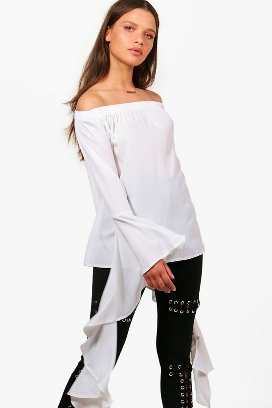 Woven Exaggerated Sleeve Off The Shoulder Top