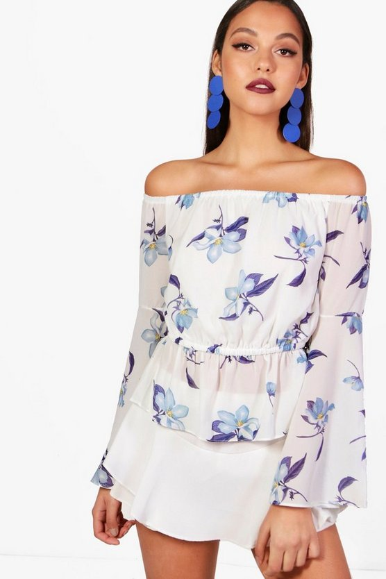 Printed Woven Off The Shoulder Top