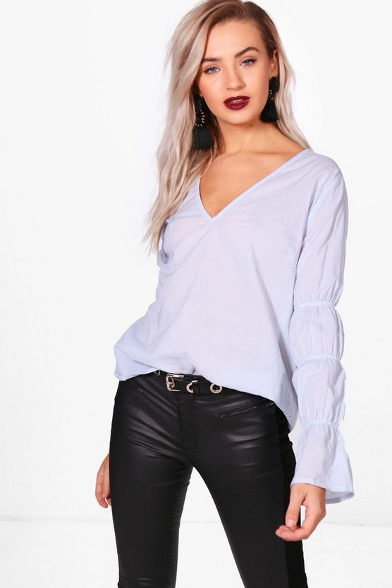 Ruched Flute Sleeve Stripe Shirt