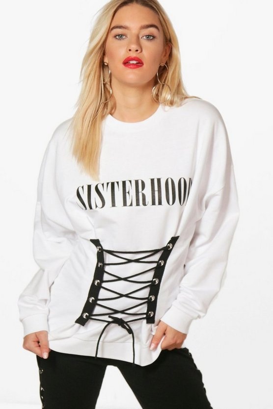 Hettie Lace Up Corset Slogan Sweatshirt