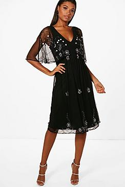 1930s Style Fashion Dresses Boutique Mona Beaded Cape Skater Dress $90.00 AT vintagedancer.com