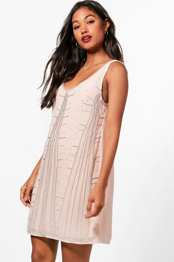 Boutique Geo Embellished Shift Dress