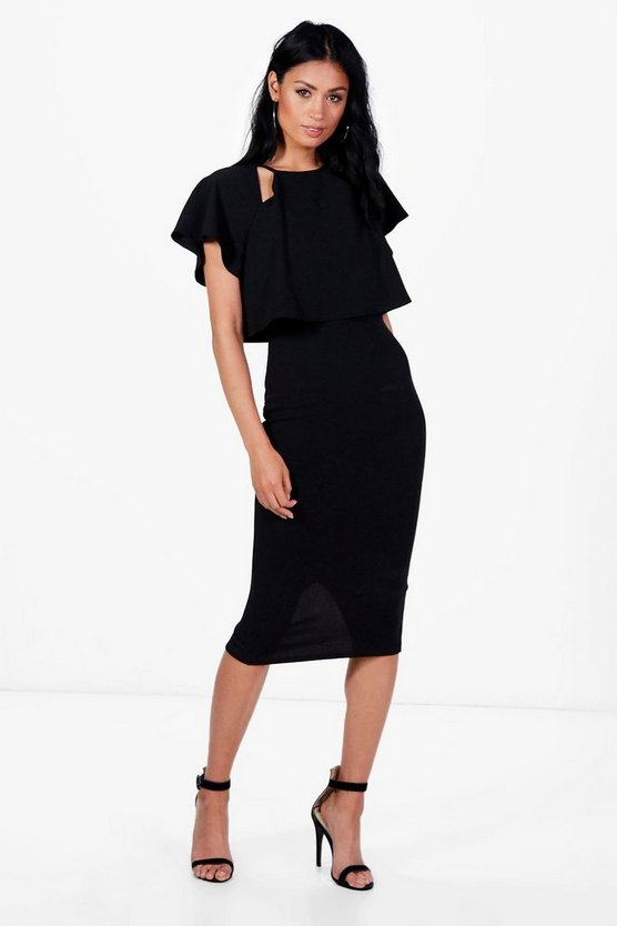 Formal Frill Double Layer Midi Dress