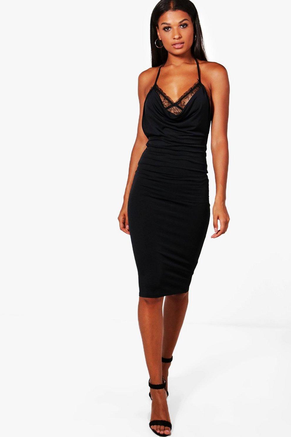 Cowl Neck Lace Midi Dress  c4dacd4d5