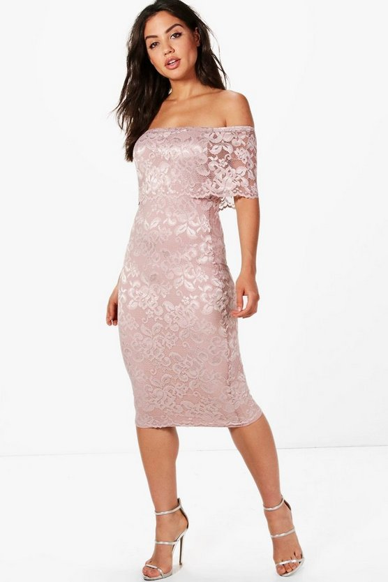 Lace Off Shoulder Midi Dress