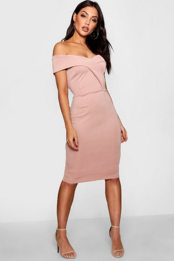 Off Shoulder Detail Midi Dress